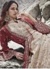 Cream and Maroon Embroidered Work Silk Floor Length Anarkali Salwar Suit - 2