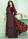 Shamita Shetty Brown and Maroon Embroidered Work Jacket Style Salwar Suit - 1