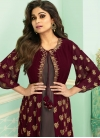 Shamita Shetty Brown and Maroon Embroidered Work Jacket Style Salwar Suit - 2