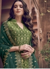 Olive and Sea Green Palazzo Style Pakistani Salwar Kameez For Festival - 1