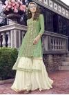 Faux Georgette Off White and Sea Green Sharara Salwar Kameez - 2