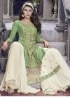 Faux Georgette Off White and Sea Green Sharara Salwar Kameez - 1