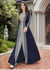 Embroidered Work Grey and Navy Blue Crepe Silk Jacket Style Floor Length Suit - 2