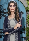 Embroidered Work Grey and Navy Blue Crepe Silk Jacket Style Floor Length Suit - 1