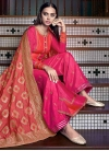 Rose Pink and Tomato Palazzo Style Pakistani Salwar Suit - 1