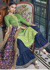 Mint Green and Navy Blue Palazzo Style Pakistani Salwar Suit - 1