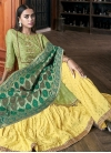 Satin Silk Olive and Yellow Sharara Salwar Kameez - 1