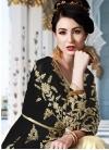 Faux Georgette Booti Work Black and Cream Kameez Style Lehenga - 2