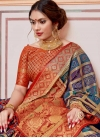Navy Blue and Orange Bandhej Print Work Art Silk Designer Contemporary Saree - 1