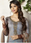 Grey and Light Blue Digital Print Work Pant Style Classic Salwar Suit - 1