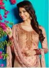 Crepe Silk Beige and Salmon Digital Print Work Pant Style Salwar Suit - 1