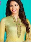Mint Green and Yellow Digital Print Work Pant Style Straight Salwar Kameez - 1
