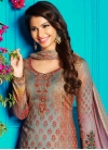 Grey and Pink Crepe Silk Pant Style Straight Salwar Suit - 1