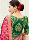 Thread Work Silk Fuchsia and Green Designer Contemporary Style Saree - 2
