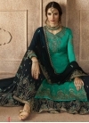 Embroidered Work Satin Georgette Sharara Salwar Suit - 1