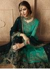 Embroidered Work Satin Georgette Sharara Salwar Suit - 2