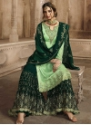 Bottle Green and Mint Green Embroidered Work Sharara Salwar Suit - 1