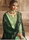 Bottle Green and Mint Green Embroidered Work Sharara Salwar Suit - 2