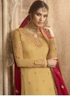 Satin Georgette Gold and Rose Pink Embroidered Work Sharara Salwar Suit - 1