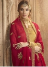 Satin Georgette Gold and Rose Pink Embroidered Work Sharara Salwar Suit - 2