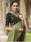 Bottle Green and Mint Green Beads Work Half N Half Trendy Saree - 2