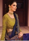 Satin Silk Navy Blue and Purple Trendy Saree For Bridal - 1