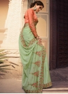 Embroidered Work Faux Georgette Designer Contemporary Saree For Festival - 1