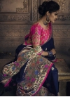 Silk Navy Blue and Rose Pink Embroidered Work Designer Contemporary Style Saree - 1
