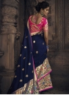 Silk Navy Blue and Rose Pink Embroidered Work Designer Contemporary Style Saree - 2