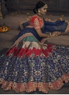 Green and Navy Blue Banglori Silk Designer A Line Lehenga Choli - 1