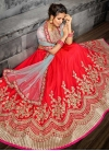 Embroidered Work Pink and Red Silk A Line Lehenga Choli - 1