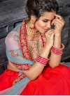 Embroidered Work Pink and Red Silk A Line Lehenga Choli - 2