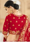 Beads Work Banarasi Silk Peach and Red Designer A Line Lehenga Choli - 2