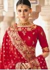 Beads Work Peach and Red Trendy Lehenga Choli - 1