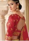 Beads Work Peach and Red Trendy Lehenga Choli - 2