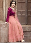 Embroidered Work Crimson and Salmon Faux Georgette Long Length Anarkali Salwar Suit - 1