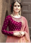 Embroidered Work Crimson and Salmon Faux Georgette Long Length Anarkali Salwar Suit - 2