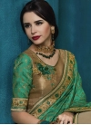 Jacquard Beige and Sea Green Half N Half Designer Saree - 1
