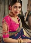 Navy Blue and Rose Pink Traditional Designer Saree - 1
