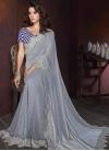 Blue and Grey Lycra Contemporary Saree For Festival - 1