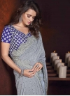 Blue and Grey Lycra Contemporary Saree For Festival - 2