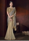 Fancy Fabric Cream and Grey Beads Work Half N Half Trendy Saree - 1