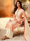 Cream and Tomato Palazzo Style Pakistani Salwar Suit For Party - 2