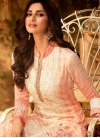 Cream and Tomato Palazzo Style Pakistani Salwar Suit For Party - 1