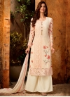 Embroidered Work Faux Georgette Palazzo Style Pakistani Salwar Suit - 1