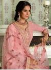 Embroidered Work Tussar Silk Pant Style Pakistani Salwar Kameez - 1
