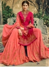 Embroidered Work Faux Georgette Rose Pink and Salmon Sharara Salwar Suit - 2