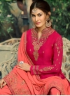 Embroidered Work Faux Georgette Rose Pink and Salmon Sharara Salwar Suit - 1