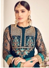 Navy Blue and Teal Faux Georgette Palazzo Style Pakistani Salwar Suit - 2