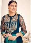 Navy Blue and Teal Faux Georgette Palazzo Style Pakistani Salwar Suit - 1